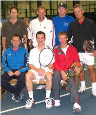 Jeremy Bates, Thomas Muster, Jim Courier, Tom Gulikson, Mikeal Pernfors, Jason Saunders, Anders Jarrid